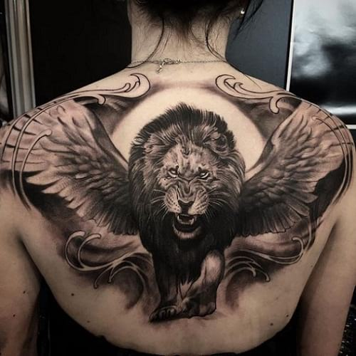 Roaring lion tattoo for females