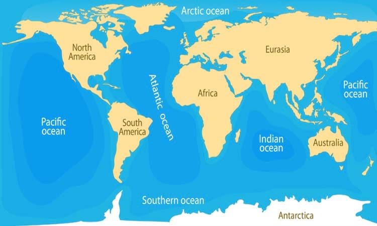 5 Oceans of The World With Map